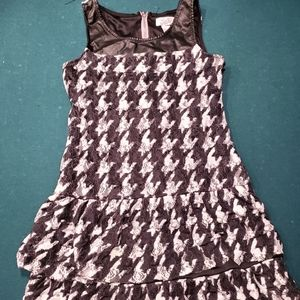 Justice houndstooth lace ruffled dress